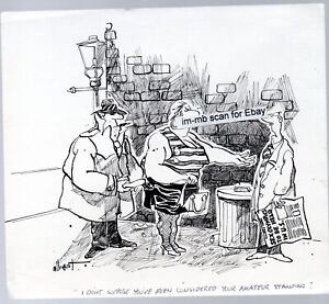 "original saucy ink cartoon signed  ""Alberto"" ? Gangster Pimp, street lady etc."