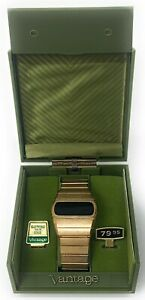 Working Vantage by Hamilton LED Men's Digital Watch Gold Plate Date Box Manual