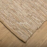 ⭐ Leather Jute Natural Beige Rustic Chindi Rag Rug 90x150cm Handmade Fair Trade