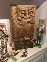 "Hand Carved Wood Santa Claus Face Hallmark Americana Christmas Decor 20"" LG Gift"