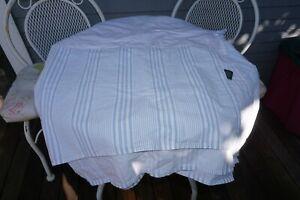 Vintage RL Ralph Lauren Blue & White Stripe King Size Bed Skirt/Dust Ruffle EUC