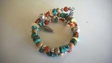 Carolyn Pollack Sterling Silver 925 MultiStone Bead Coil Bracelet Cuff B 41