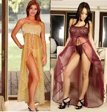 PLUS SIZE BURGUNDY GOLD LINGERIE NIGHTGOWN LONG GOWN PANTY 1X