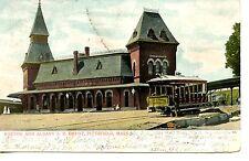 Boston & Albany Railroad Depot-Trolley-Pittsfield-Massachusetts-Vintage Postcard