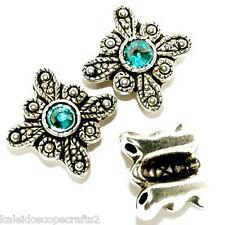 Metal Bracelet Slider Beads Swarovski Crystal Blue Zircon 12 Pcs Topaz Bead SB2