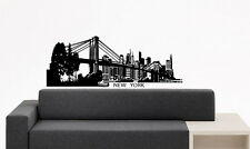 Wall Vinyl Sticker Decals Mural Design New York State City View Bridge Art #754