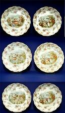 antique Imperial Crown China Austri Set of 6 Fish & floral Plates Rare