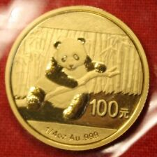 2014 CHINESE GOLD PANDA BEAR 1/4 oz .999% BU GREAT COLLECTOR COIN GIFT