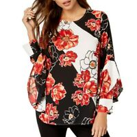 ALFANI NEW Women's Printed Ruffle-sleeve Blouse Shirt Top TEDO