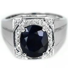 GENUINE BLUE SAPPHIRE OVAL 10X9 MM & WHITE CZ STERLING 925 SILVER RING SIZE 9.25