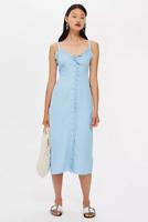 Topshop Blue Button Front Ruffle Midi Slip Summer Dress Size 8-16