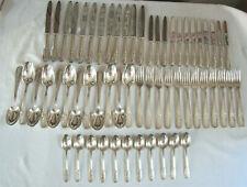 MENAGERE orf. GUILLAUMOT 1907 métal argenté 24 COUTEAUX repas dessert Cuilleres