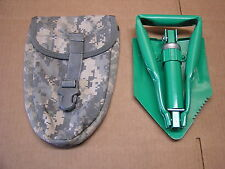"Civilian Folding Shovel With Military Carrier Pouch 10"" to 23"" Tempered Steel"