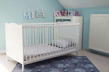 White Cot Bed 120 X 60cm & Cotbed Deluxe Mattress Converts Into a Junior