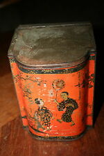 Vintage Ridgways Tea Tin Chinese Figures Hinged Lid Unusual Shape