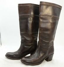 Frye Womens Sz 7.5 Chocolate Brown Leather Knee High Riding High Heel Boots