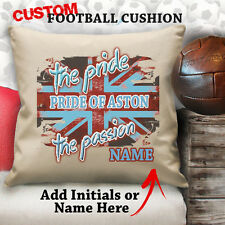 Personalised Aston Villa Football Vintage Cushion Custom Cover Canvas Sport Gift