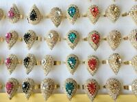 2pcs Vintage Jewelry Ruby Fashion Gold Rhinestone Engagement Rings For Women