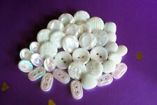 35 vintage (unused) white glass buttons/iridescent lustre (includes 5 sets)