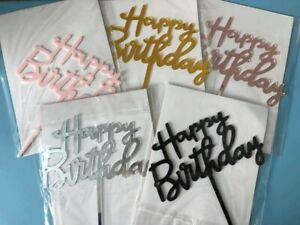 Happy Birthday Script Acrylic Cake Topper Party Decoration UK seller - New
