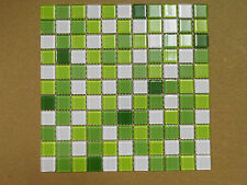 Crystal Glass Mosaic Tiles - Kitchen/Bathroom/Feature Walls - Green Mix Blended