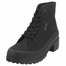 Superga 2448 Cotw Alpina Heeled Mid Womens Black Textile Platform Boots