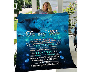 To My Wife The Day I Met You Blanket, I Love You Forever, Lion Blanket Gifts