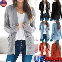 US Womens Knitted Sweater Coat Cardigan Ladies Casual Pocket Warm Jacket Outwear