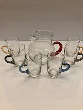 Vintage Glass Pitcher With 6 Glass Mugs Beautiful Set Excellent Condition !!