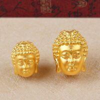 1pcs New 999 24K Yellow Gold Pendant 3D Lucky DIY Buddha Head 11*14mm / 1.5-2g