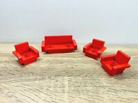 LEGO Duplo Red Furniture Sofa Cough Armchair Living Room Set