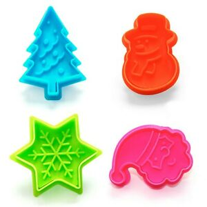Christmas Cookie Cutters Plunger Sugarcraft Icing Tree Santa, Snowman, Snowflake