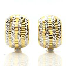 18K Two-Toned Diamond Cut Hoop Earring 3.70 Grams