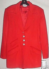 NWT MDP Mario de Pinto Red Wool Blazer Style Coat Size 10