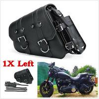 1X Left Side PU Leather Motorcycle Saddlebag Bottle Tool Luggage Bag Saddle Bag
