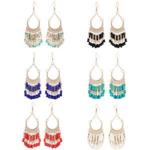 Tassle Earrings Bohemian Multicolour Beaded Drop Dangle Earrings Handmade