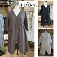 CHEYENNE  LT0855 Textured Linen HEXI-DOT JACKET Tunic Top S/M L/XL 2018 3 Colors