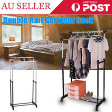 Portable Double Rail Metal Clothing Garment Rolling Rack Hanger Heavy Duty Stand