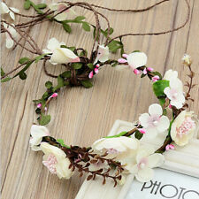 Elegant Women Floral Crown Flower Headband Hairband Wedding Garland Headpiece