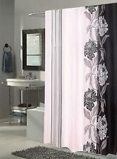 Carnation Home Fashions Extra Long Chelsea Fabric Shower Curtain Black/White New