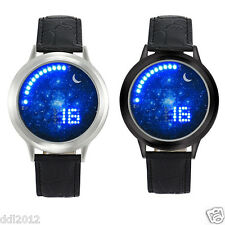 Mens Womens Boys Girl LED Digital Backlight Space Dial Leather Sport Wristwathes