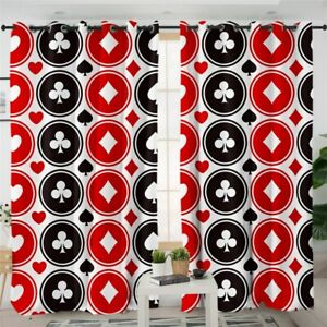 Poker Red Game Play Casino Card Black Window Living Room Bedroom Curtains Drapes