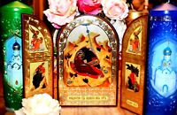 Christmas Triptych Russian Nativity Orthodox Icon Wood Silver Gold Gift box