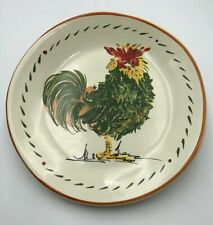 Williams Sonoma GREEN Rooster Plate  Made in Italy Dessert Salad Retired