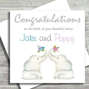 Personalised New Baby Card Twins Birth Boy Girl Mixed New Parents