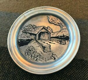 Cast Craft Cast Decorative Collector with Covered Bridge Plate #0187