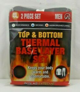 Thermal Base Layer Polar Extreme Men's 4XL Top & Bottom Wicking Big & Tall Black