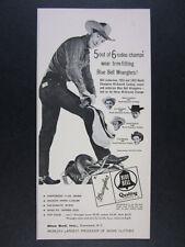 1954 Blue Bell Wrangler Jeans rodeo cowboy Bill Linderman photo vintage print Ad