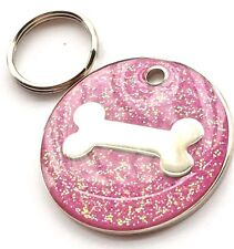 Personalised Engraved Pink Glitter Bone - Dog Pet ID Tag 26mm