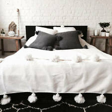 blanket bed king/queen size handmade pom pom moroccan bohemian style handwoven